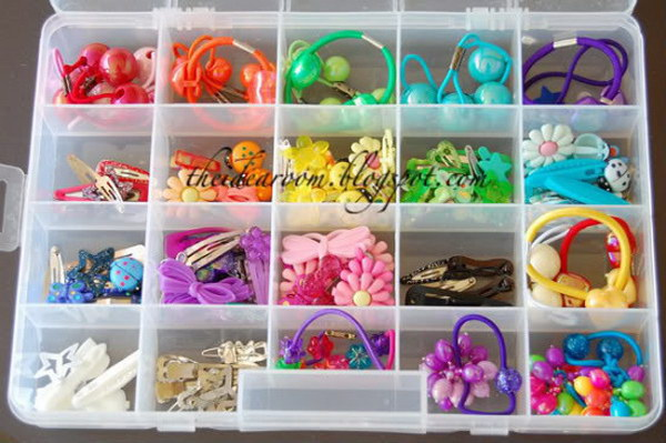 Bobby Pins and Barrettes in a Craft Box.