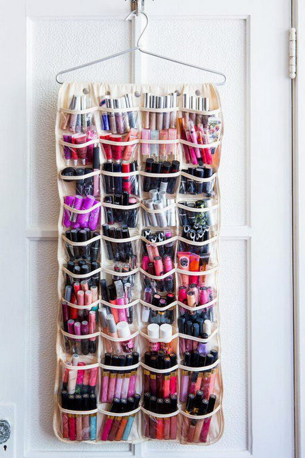 Makeups Storage with a Shoe Organizer.