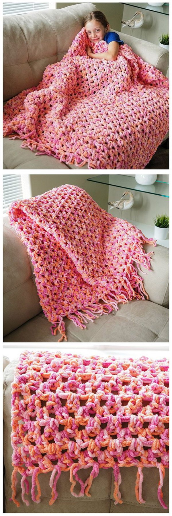 Sofa Blanket Beginners Crochet Pattern.