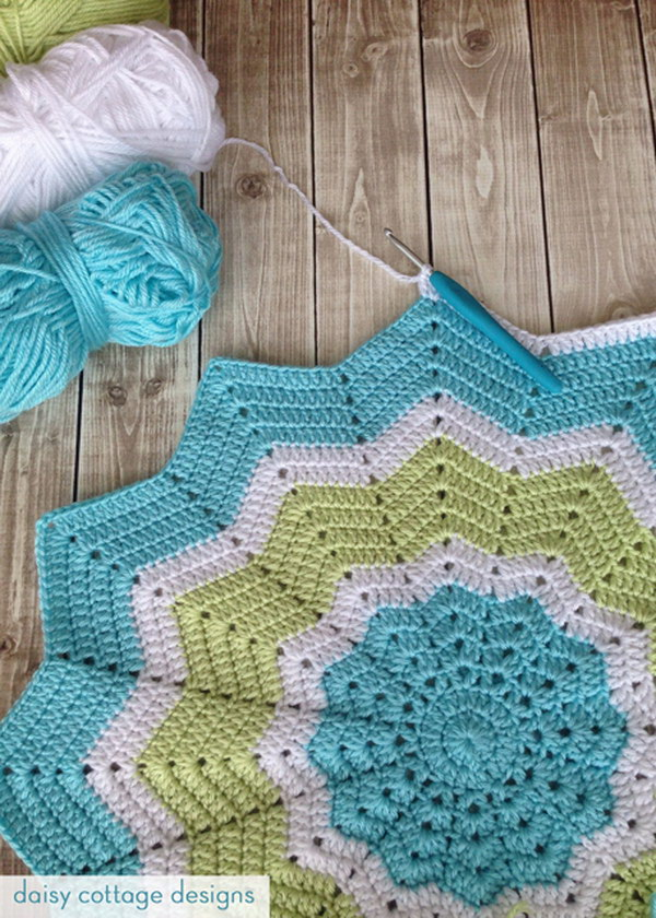Turquoise and Lime Crochet Star Baby Blanket.