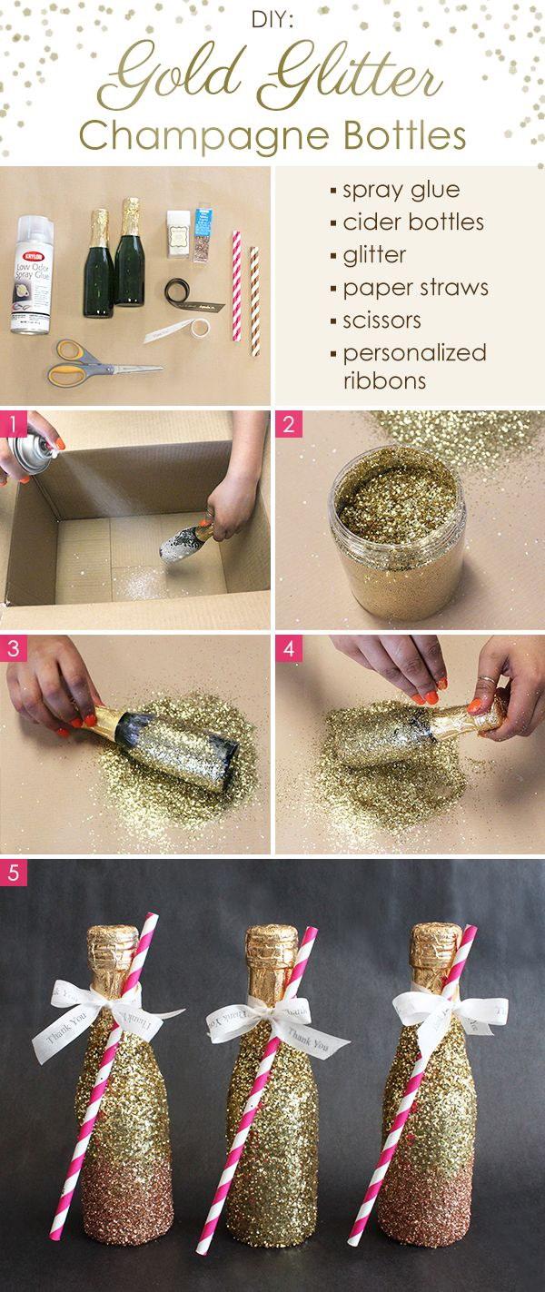 DIY Gold Glitter Champagne Bottles.