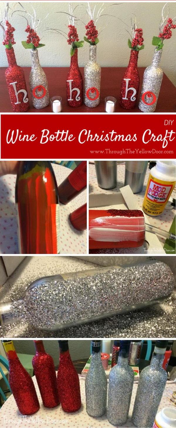 DIY Glitter Christmas Wine Bottles.
