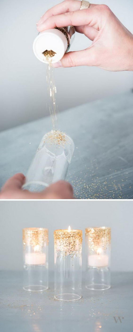 DIY Glitter Tealight Holders.