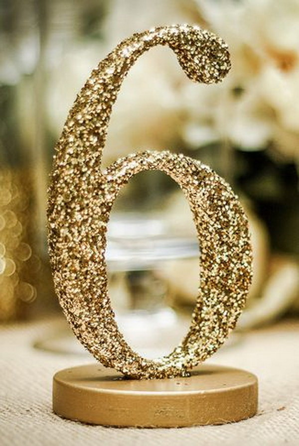 DIY Glitter Wedding Table Numbers.