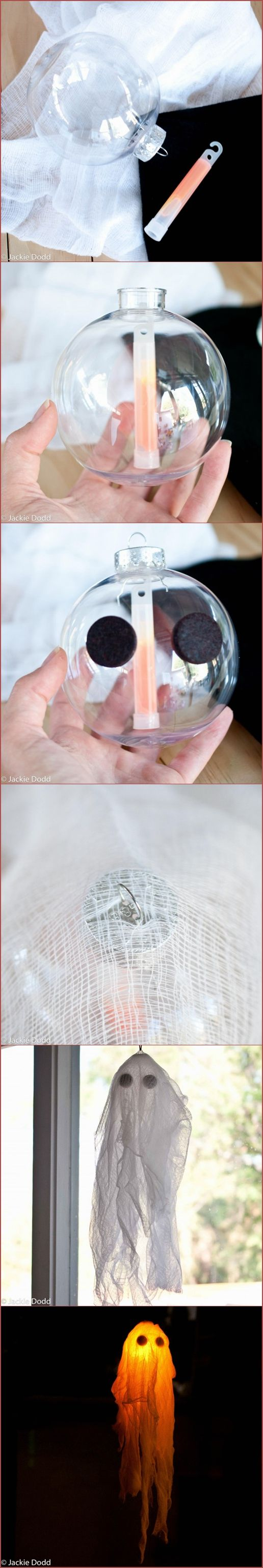 DIY Glow In The Dark Halloween Ghost Craft.