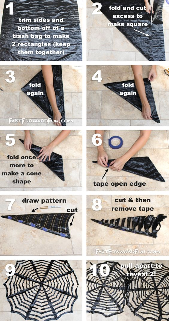 DIY Trash Bag Spiderwebs.
