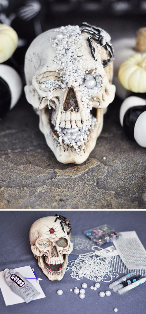 DIY Creepy Jeweled Halloween Skull.