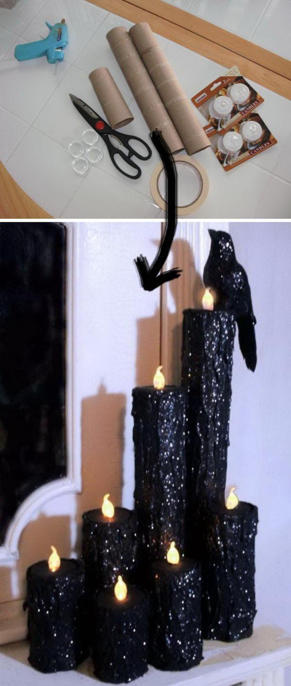 DIY Halloween Creepy Candles.