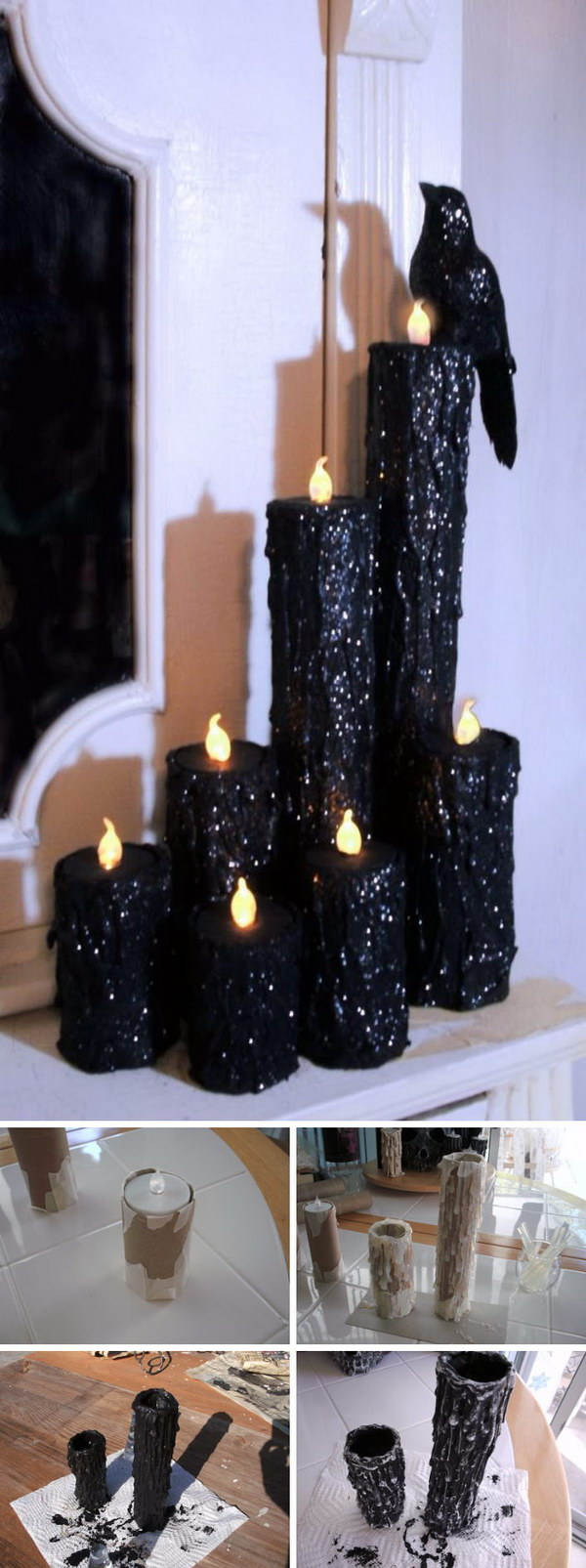 DIY Halloween Creepy Candles.