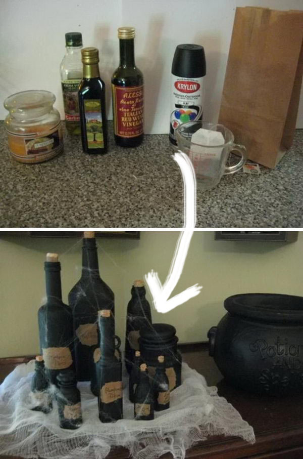 Empty Condiment Bottles Spray Painted Black to Look Like Witches Potions.