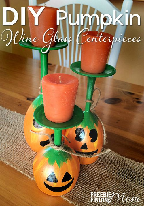 DIY Pumpkin Wine Glass Centrepieces.