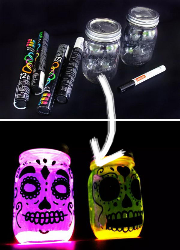 Easy Glow In The Dark Day of The Dead Lanterns.