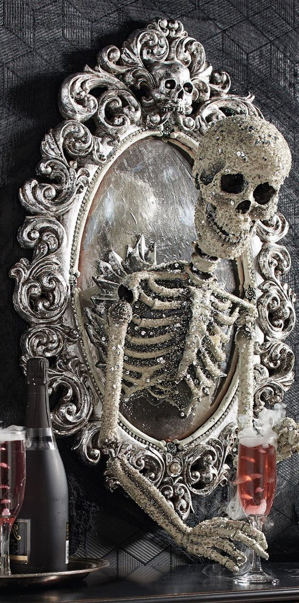 Halloween Sorceress Skull Framed Mirror