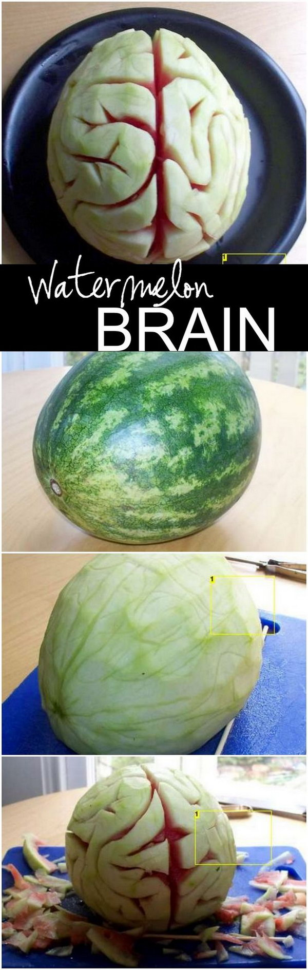 Edible Watermelon Brain for Halloween
