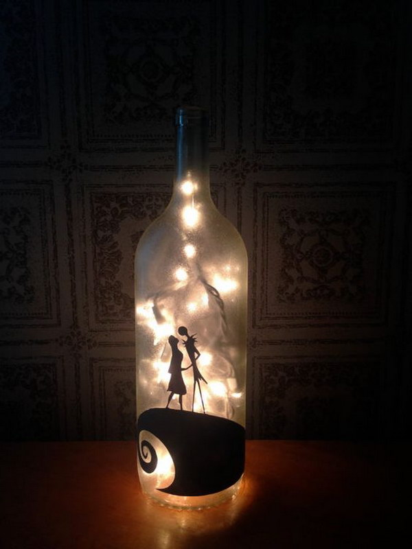 easy wine bottle light for halloween - Halloween Light Ideas