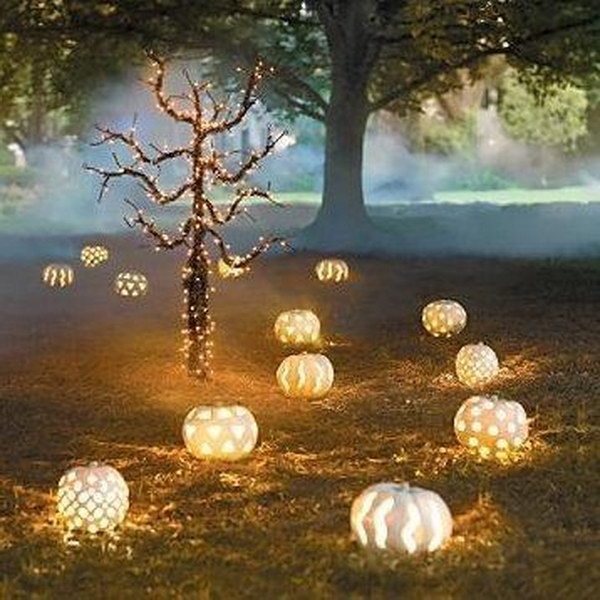 A Lighted Pumpkin Path