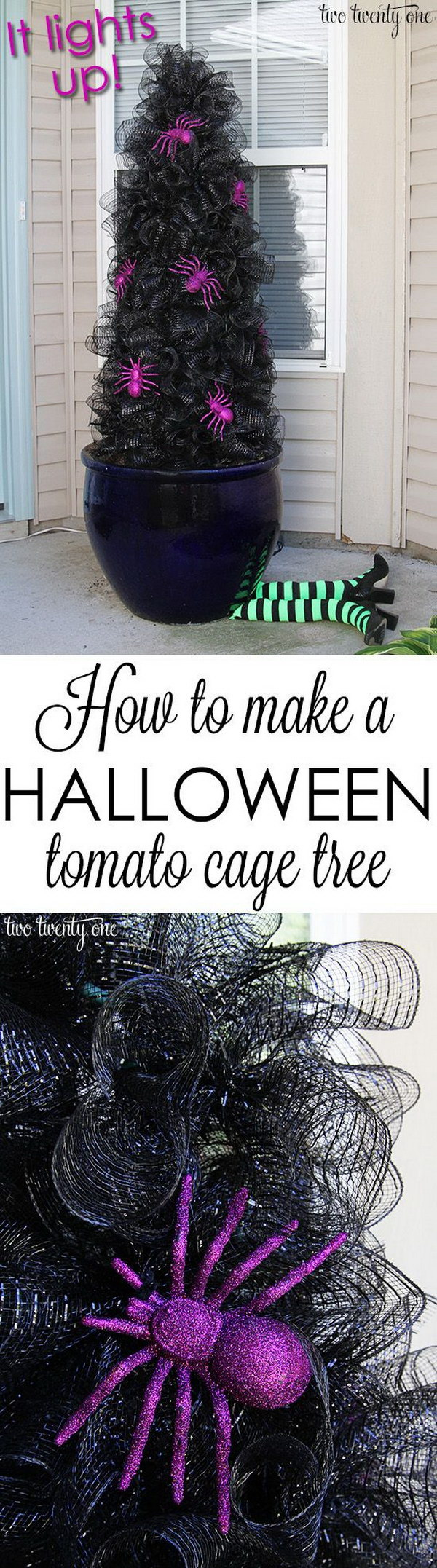 DIY Halloween Tomato Cage Tree