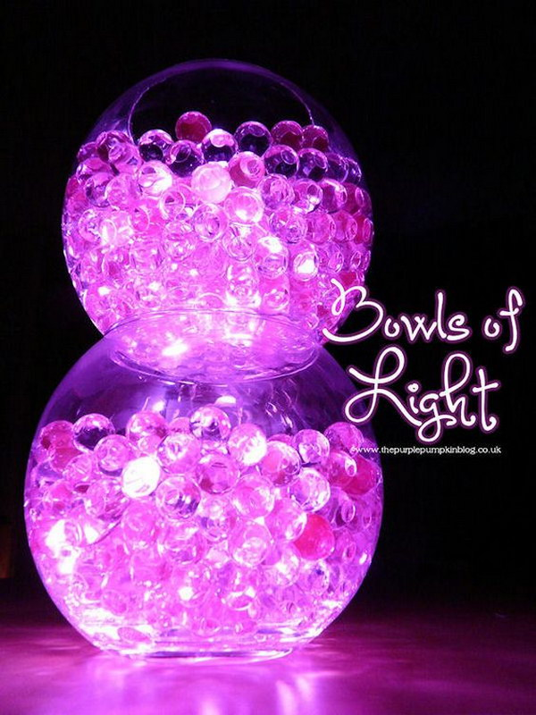 DIY Bowls of Light Made with Aqua Gel Beads and Submersible Led Lights
