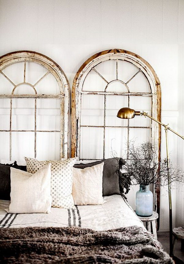 Two Antique windows with The Glass Removed as a Headboard.