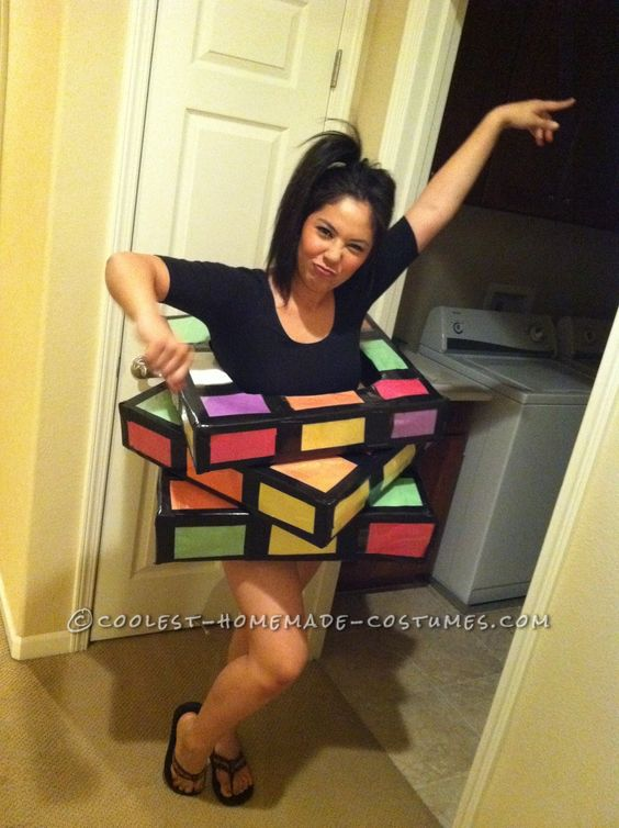 Great Last Minute Rubik's Cube Costume.