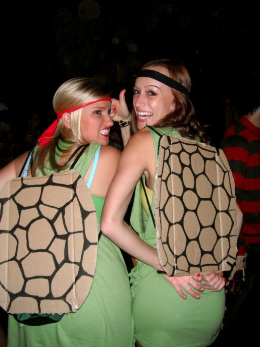 DIY Cardboard Ninja Turtle Costumes.