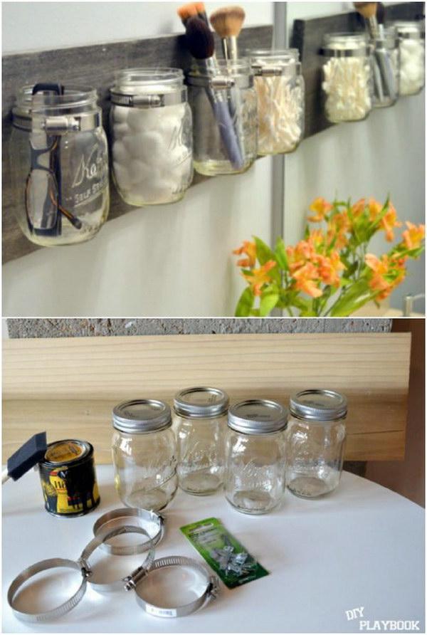 DIY Mason Jar Wall Organizer