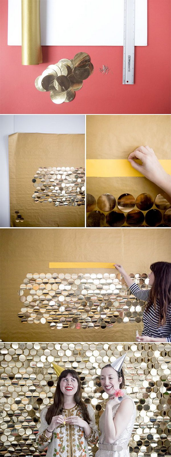 DIY Sequin Backdrop Made out of Large Gold Pailletes