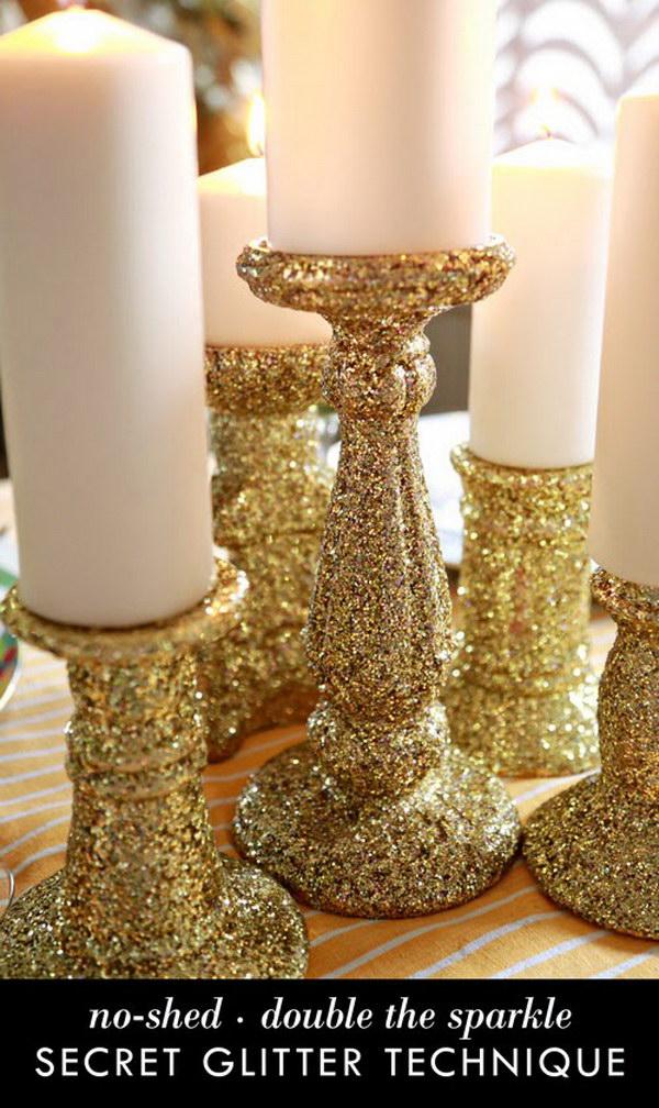 DIY Glittered Candle Sticks