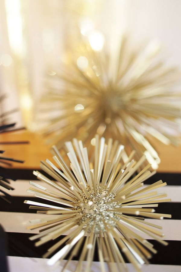 DIY Gold and Glitter Styrofoam Balls Toothpicks