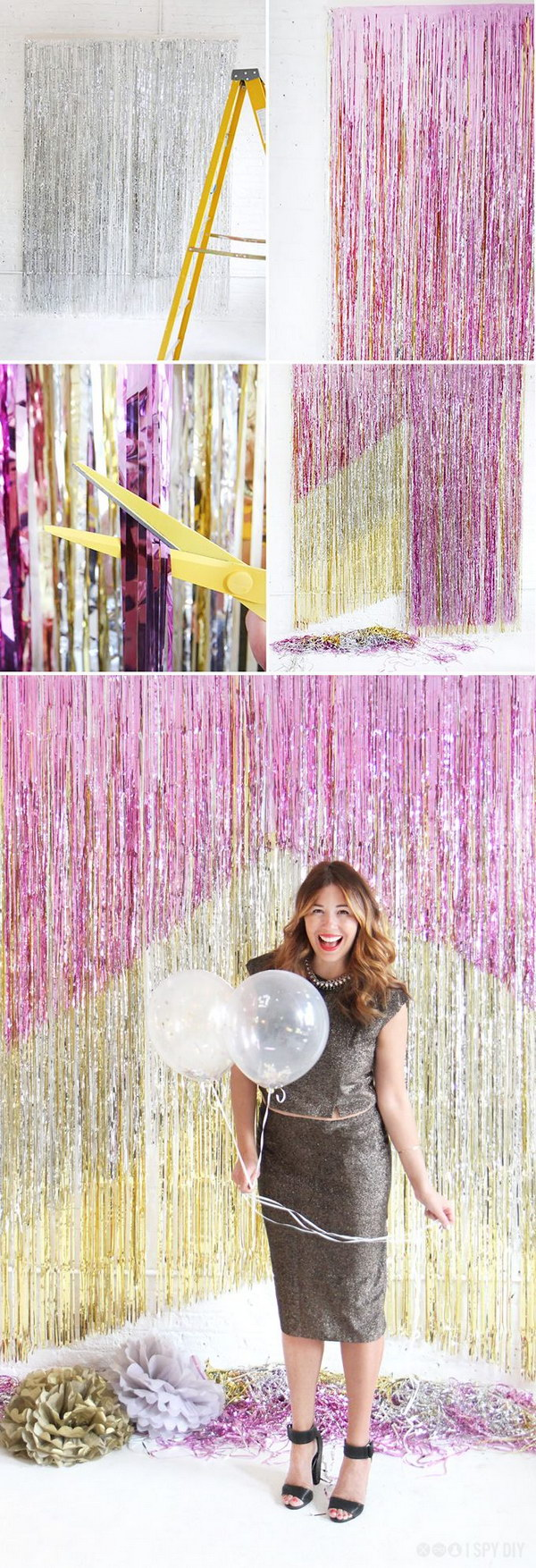 DIY New Years Eve Chevron Fringe Backdrop