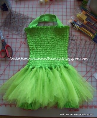Tinkerbell Lined Tutu Dress Tutorial.
