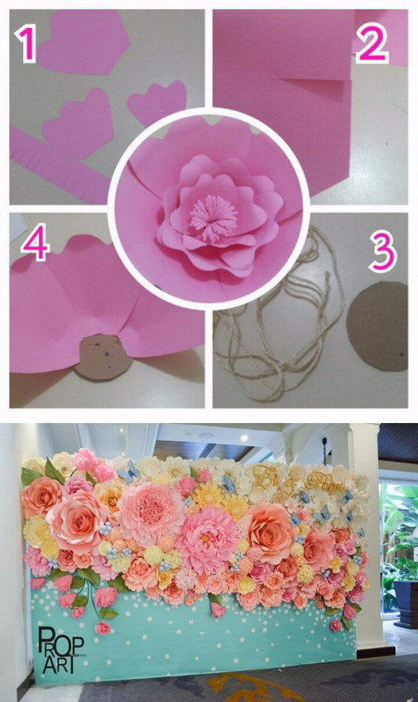 Paper Flowers Photo Booth Backdrop.