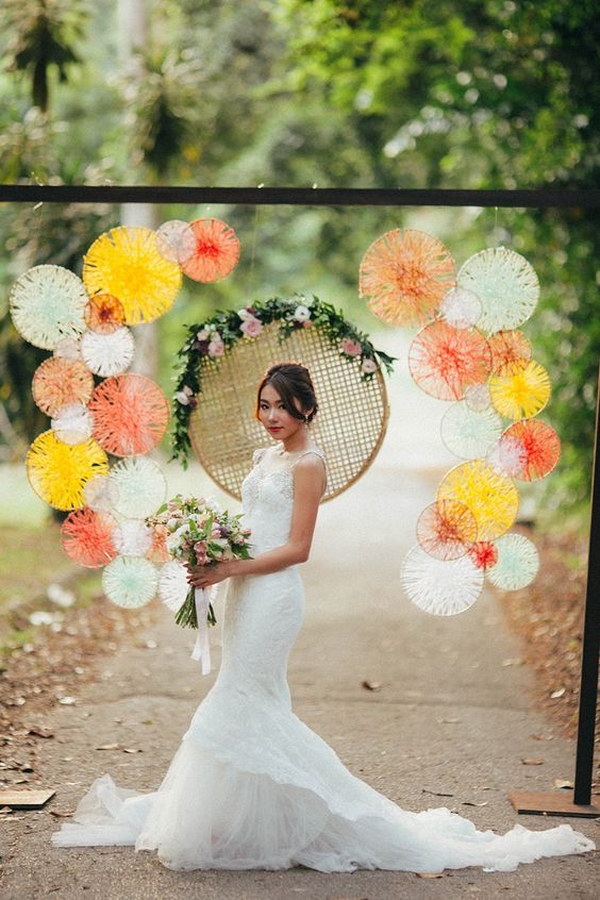 Willow Hoops With Criss Crossed String Art Photo Booth Backdrop