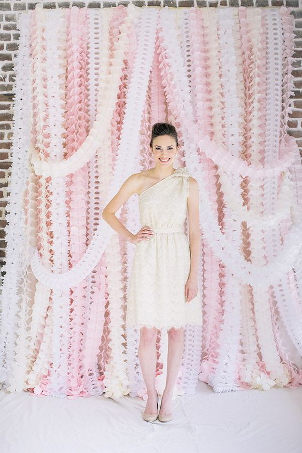 Elegant Pink Streamers Photo Booth Backdrop