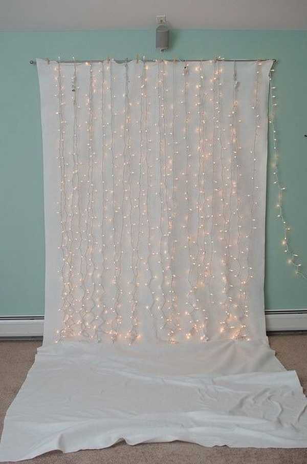 DIY Sparkling String Light Photo Booth Backdrop