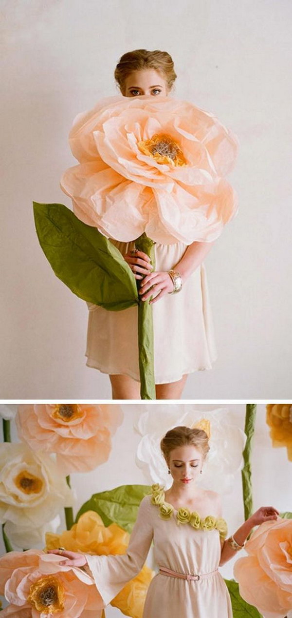DIY Giant Paper Flowers Photo Booth Backdrop