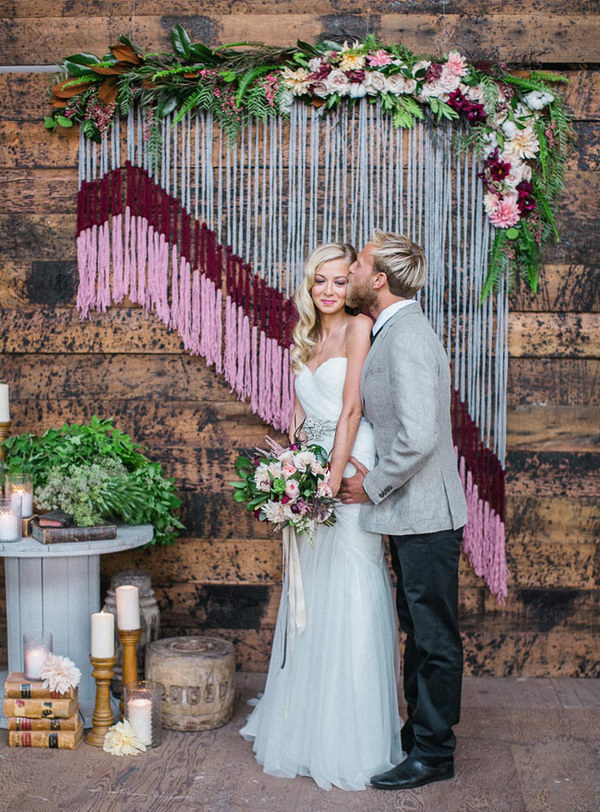DIY Yarn And Flower Photo Booth Backdrop