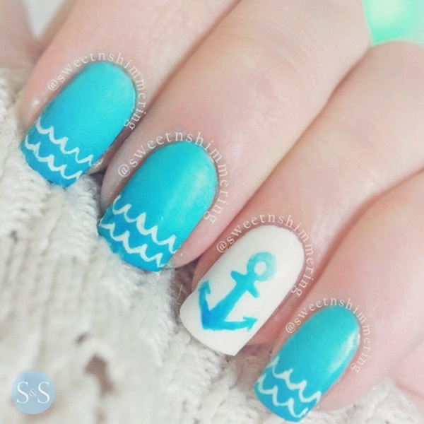 Blue Anchor Nails - 50 Cool Anchor Nail Art Designs