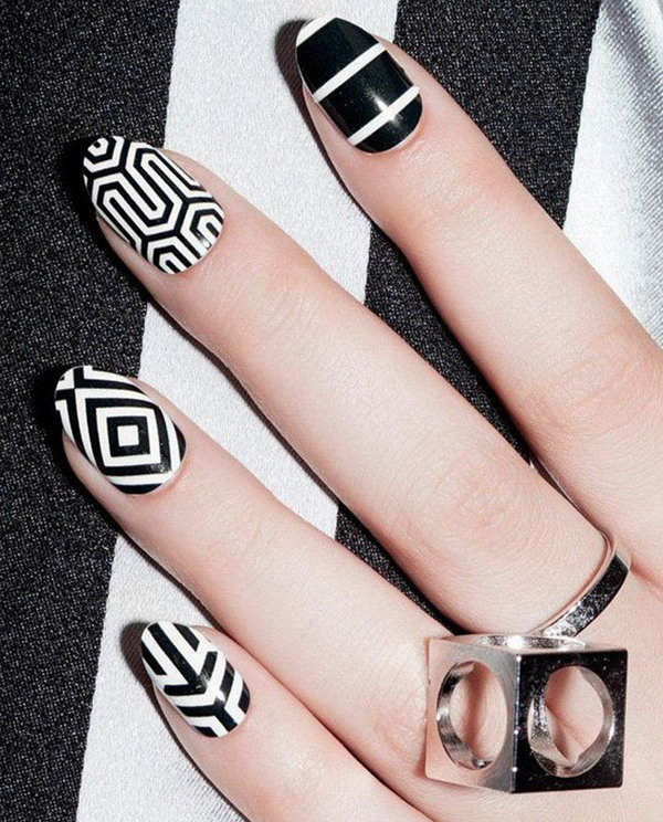 Nail art using black and white : Black and white nail art designs perfect match for any parties