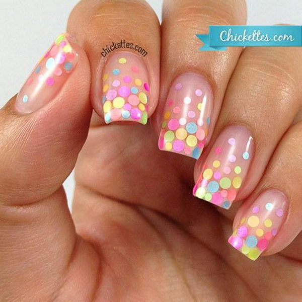 Pastel Polka Dot Nail Design - 50+ Stylish Polka Dots Nail Art Designs