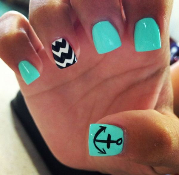 Green Nails with an Anchor Accented - 50 Cool Anchor Nail Art Designs