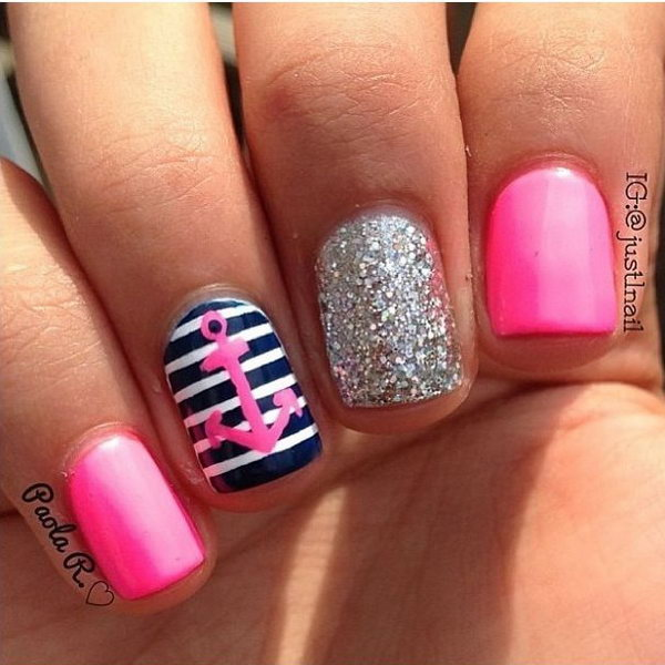Hot Pink Anchor Nails with Glitter - 50 Cool Anchor Nail Art Designs