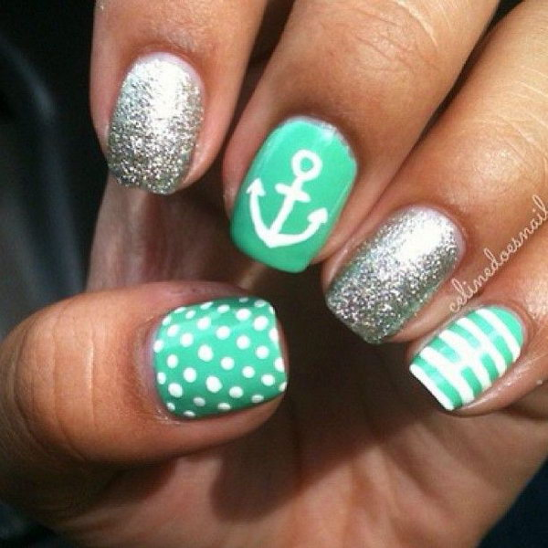 Green and Sliver Glitter Anchor Manicure - 50 Cool Anchor Nail Art Designs