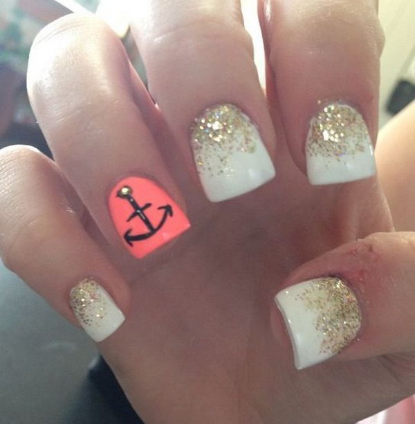 White & Gold with an Anchor Nails - 50 Cool Anchor Nail Art Designs