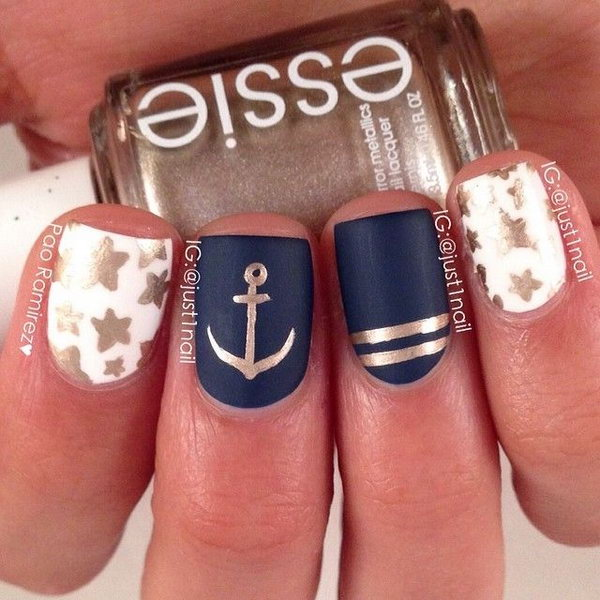 50 cool anchor nail art designs glitter stars and anchor nautical manicure prinsesfo Gallery