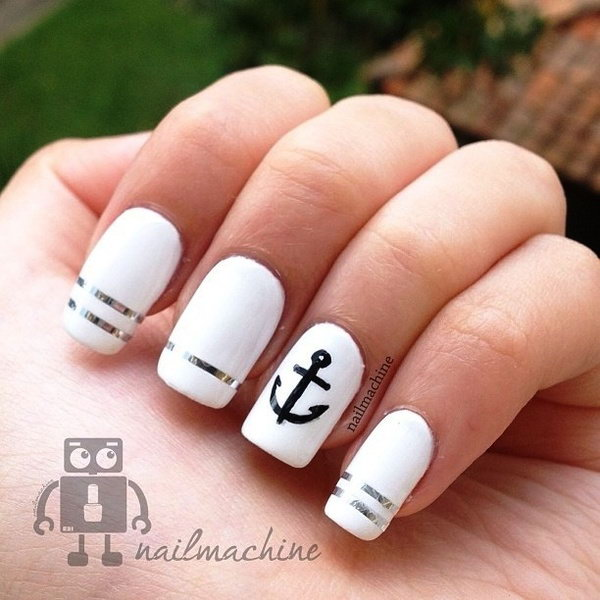 Black, White and Silver Nails Accented with an Anchor - 50 Cool Anchor Nail Art Designs
