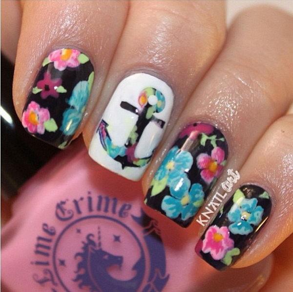 Floral Anchor Manicure Design.