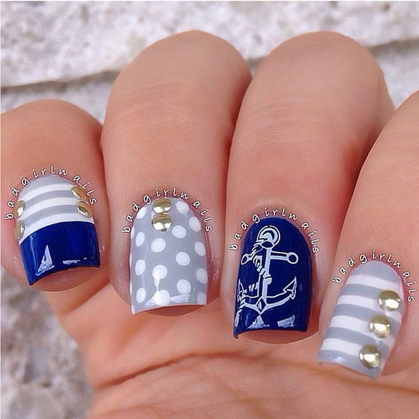 Anchor and Gold Studs Manicure.