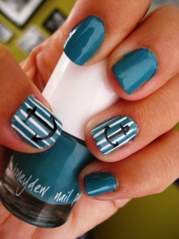 Deep Blue Nails with Anchors and Strips.
