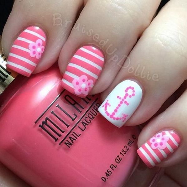Charming Pink and White Anchor Manicure Design.